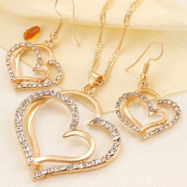 Double Heart Necklace Earrings