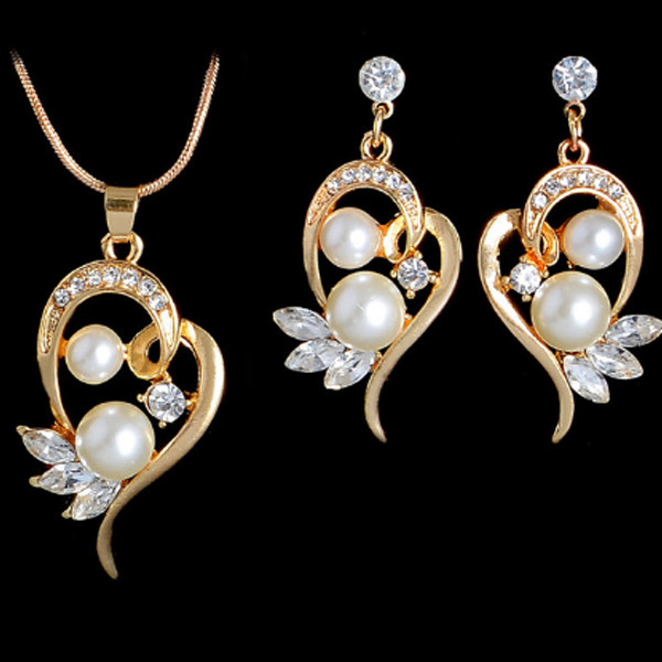 Pearl Heart Necklace Earrings