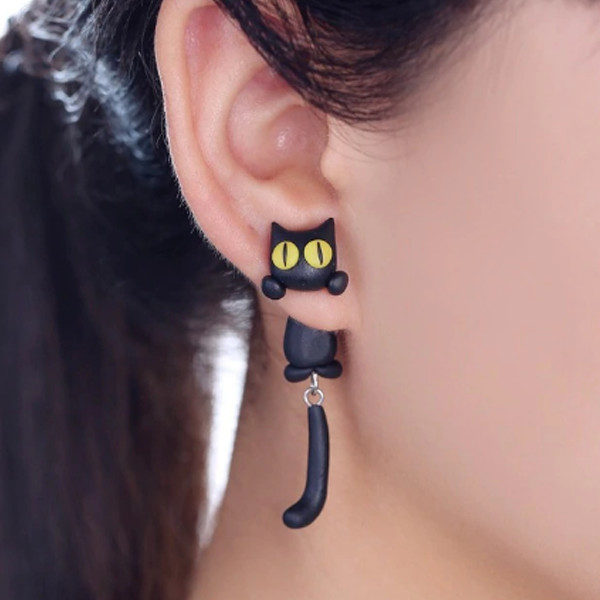 Black Cat Stud Earrings 1