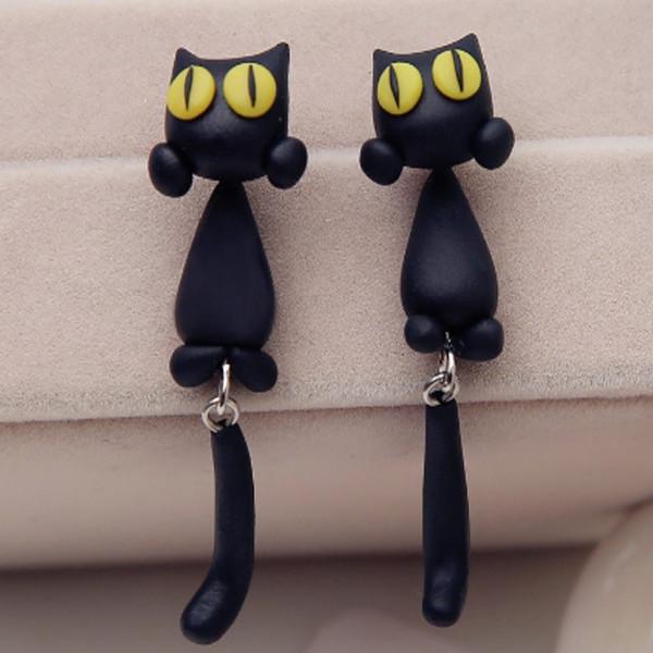 Black Cat Stud Earrings