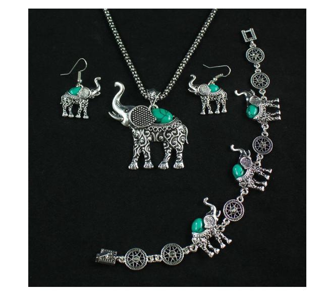 Elephant Necklace Earrings Bracelet