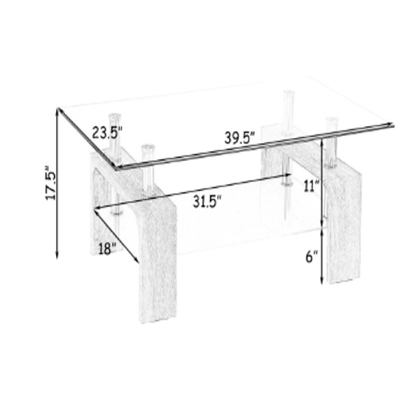 Coffee Table with Glass Shelves 2