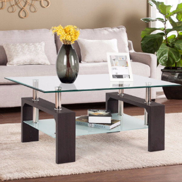 Coffee Table with Glass Shelves
