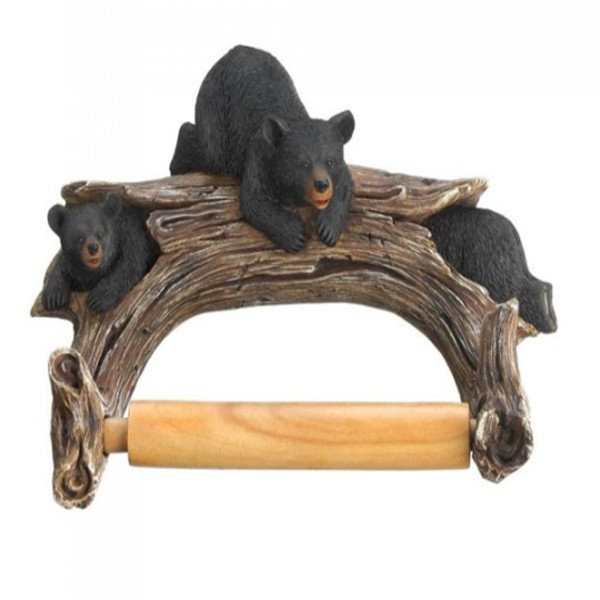 Black Bear Wooden Toilet Paper Holder 1