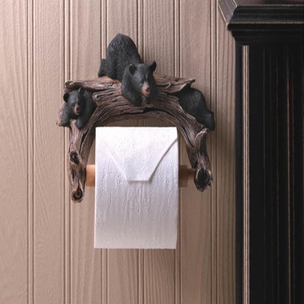 Black Bear Wooden Toilet Paper Holder
