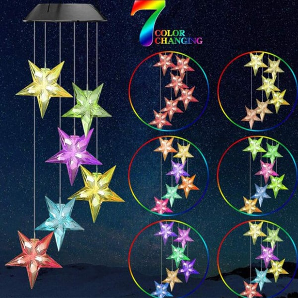 Christmas Solar Star Wind Chime 6