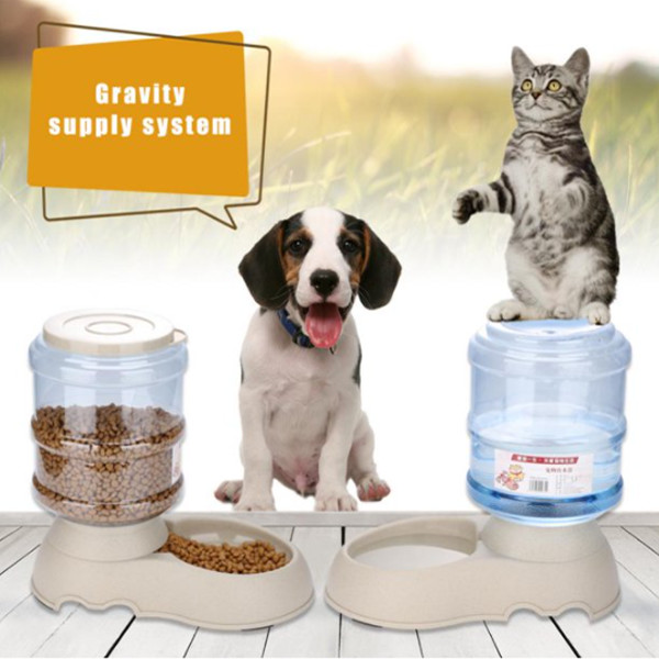 Dog Cat Automatic Food Water Bowl